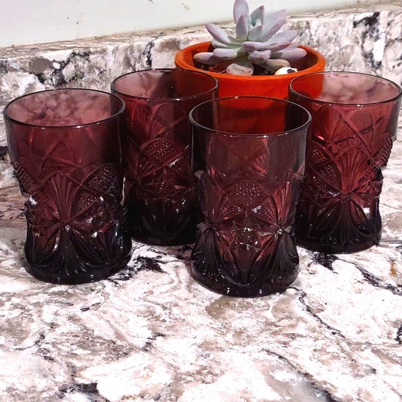 Amethyst Cocktail Glasses Set of 4 Pressed Glass